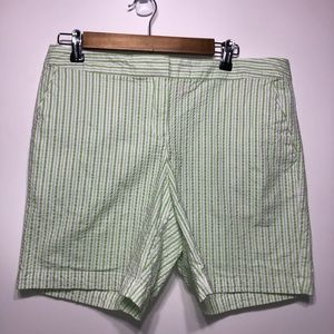 IZOD green and white striped shorts size 10